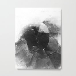 Black and White Contrast Textured Abstract Metal Print
