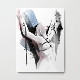 The beauty of tight binding, Naked body tied up to a pole, Nude art, Fine-art shibari rope bondage Metal Print