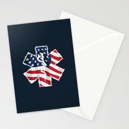 Patriotic Paramedic EMT EMS Star of Life Medical Service Symbol with USA Flag Overlay Stationery Cards
