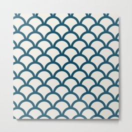 Fish Scales in Navy on Ivory Metal Print
