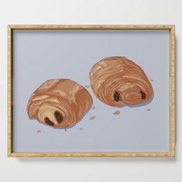 Deux pains au chocolat blue Serving Tray