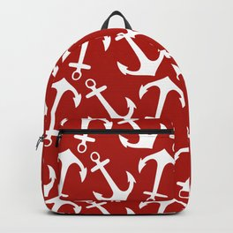 Maritime Nautical Red and White Anchor Pattern - Anchors Backpack