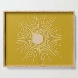 Subtle Sun and Moon - Mid Century Modern Minimalism in Mid Mod Mustard and Beige Serving Tray