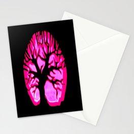 Happy halloweeN Brain Tree Hot Pink Stationery Cards