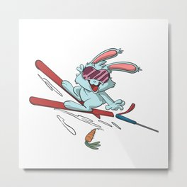 Bunny skiing catching a carrot Metal Print