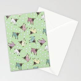 Pajama'd Baby Goats - Green Stationery Cards