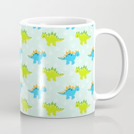 Cute Dinosaur Nursery Illustration – Green and Blue stegosaurus Coffee Mug