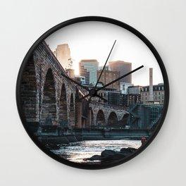 Minneapolis Minnesota Skyline at the River Wall Clock