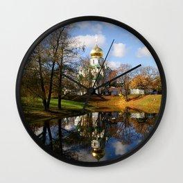 temple church shrine dome lake autumn st petersburg Wall Clock