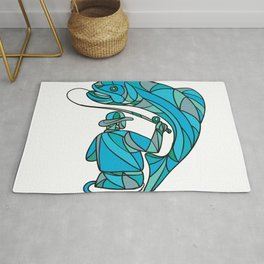 Fly Fisherman Catching Trout Mosaic Color Rug