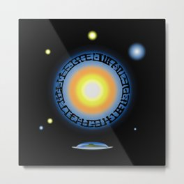 Alien Sun Disc Metal Print