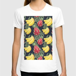 Tropical Fruit Pattern on Black T-shirt
