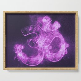 Om symbol. Hindu religion. Abstract night sky background. Serving Tray