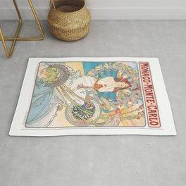 1897 Alphonse Mucha Monaco Monte-Carlo Poster Rug