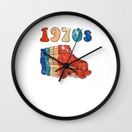 70s Roller Skates Disco Derby Retro Wall Clock