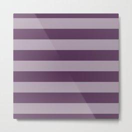 Dark Inky Plum Purple Wide Cabana Stripes Metal Print