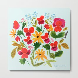 Pansies, Flowers, Happy, Sunshine, Sunflowers Metal Print