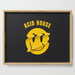 Acid Techno melted smiley | Electronic music dj gift. Serving Tray
