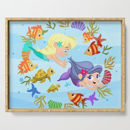 little mermaids playing tag Serving Tray