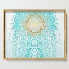 Chakra Sun River - Mint Turquoise Fluid Glitter Serving Tray
