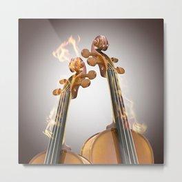 Burning two violin Metal Print