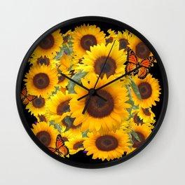 SUNFLOWER & MONARCHS IN BLACK ART Wall Clock