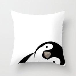 Sideways Peeking Penguin Throw Pillow
