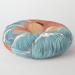 Ninja cat swim at the great wave Floor Pillow