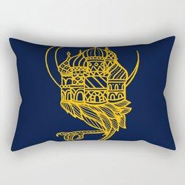Baba Yaga Blue Gold Rectangular Pillow