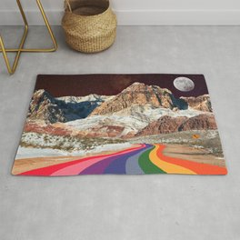 Trippy 1960s Stars and Moon Retro Red Rock Canyon Collage Milky Way Galaxy Colors Rug