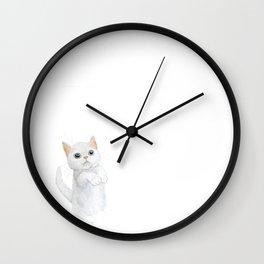 White Munchkin Kitten Watercolor Wall Clock