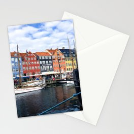 Painting of a Cloudy Day Along the Colourful Nyhavn Canal in Copenhagen, Denmark Stationery Cards