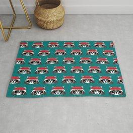 Raccoon in Red Buffalo Plaid Sweater Rug