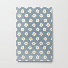 daisies - dusty blue Metal Print