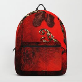 Awesome elegante cow skull with hat Backpack