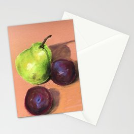 still life with pear and plums Stationery Cards