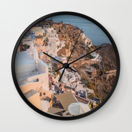 Golden Hour | Landscape Photography of Santorini Sunset Over Greece White Buildings Wall Clock