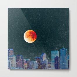 Blood Moon over Denver Colorado Skyline Metal Print