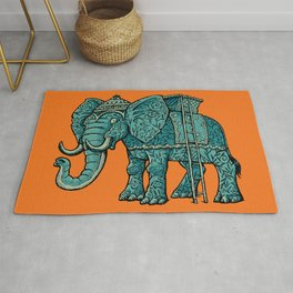 Decorative Indian Elephant ready for hunting Rug