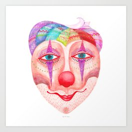 trust the clown mask portrait Art Print