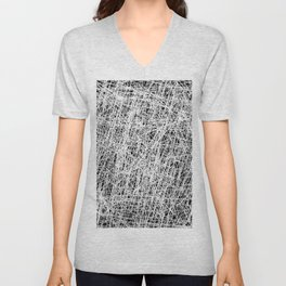 Web Of Confusion - Black and white, abstract painting Unisex V-Neck
