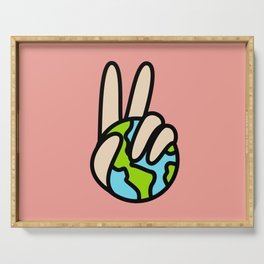 World Peace Planet Earth Symbol V Sign Serving Tray