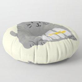 A cat that swallows a bird Floor Pillow