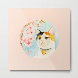 """Hanami"" - Calico Cat and Cherry Blossom Metal Print"