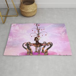 Little fairy with valentine tree with hearts Rug