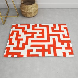 White and Scarlet Red Labyrinth Rug