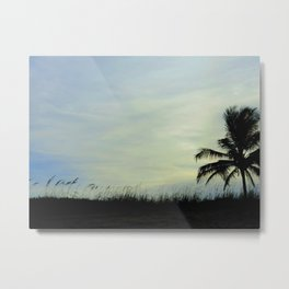 Sea oats and coconut palm at the beach Metal Print