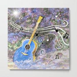 Space Guitar Acoustic Metal Print