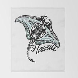 Hawaiian Tribal Ray Throw Blanket