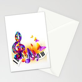 Music notes colorful design Stationery Cards